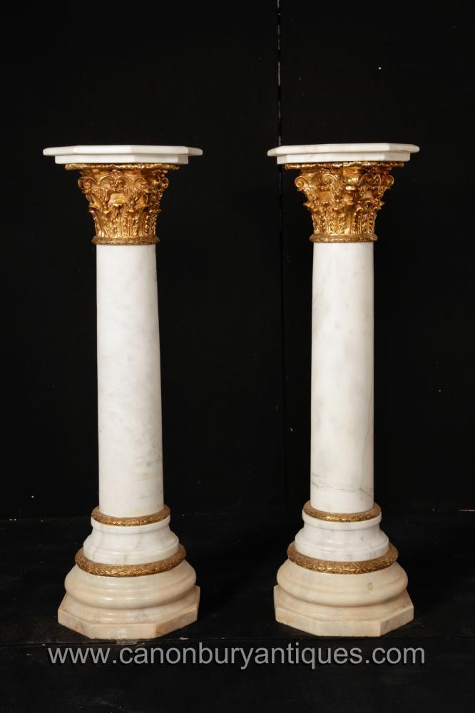 Paar Französisch Reich Marmor korinthischen Säule Ständer Säulentische