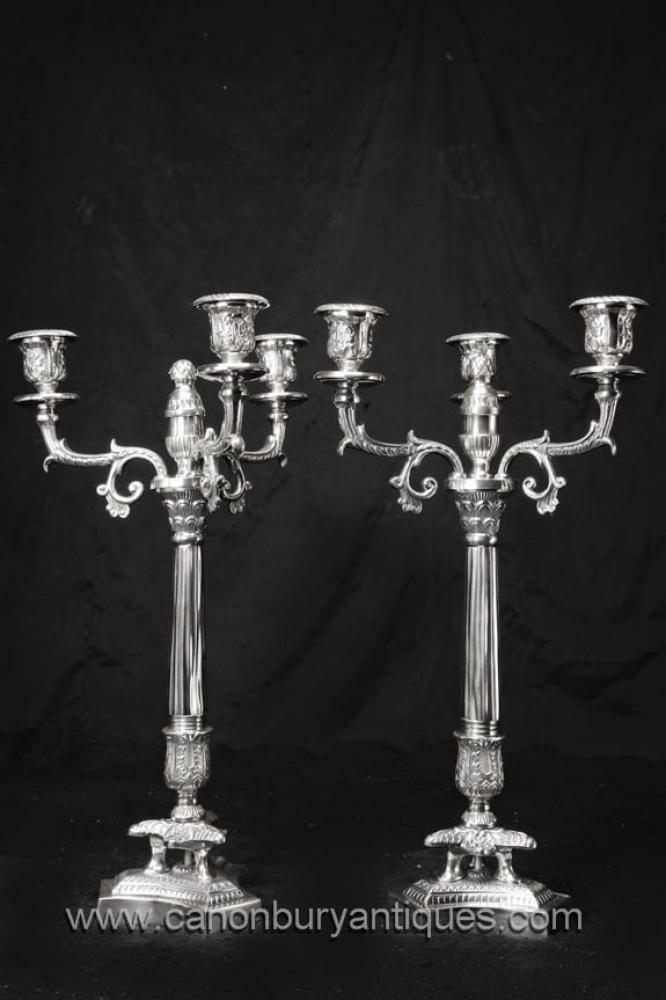 Pair Victorian silberne Platten Candelabras korinthischen Säule Kerzen