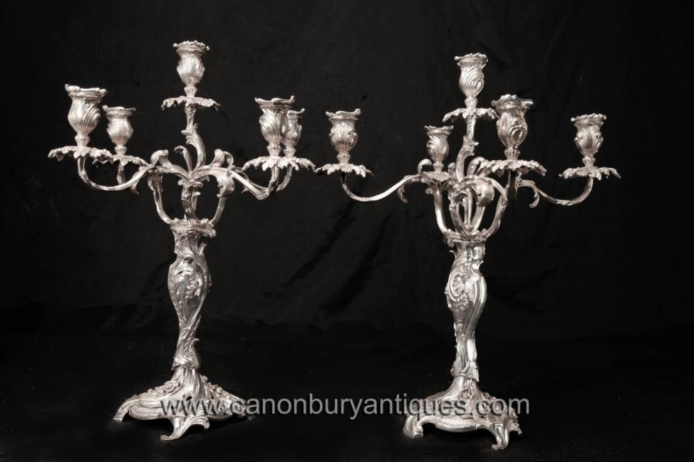 Pair Victorian silberne Platten Rococo Kerzenleuchter Kandelaber