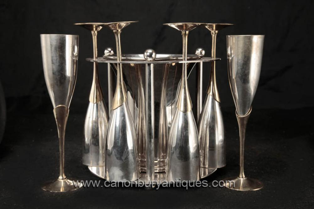 Sheffield silberne Platten-Champagne-Glas Ice Bucket Set Flutes Getränke