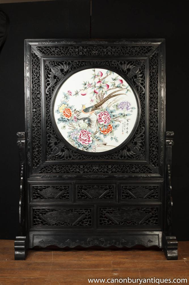 ANTIKER JAPANISCHER HAND GESCHNITZTE BILDSCHIRM KAKIEMON PORZELLAN PLAQUE DIVIDER