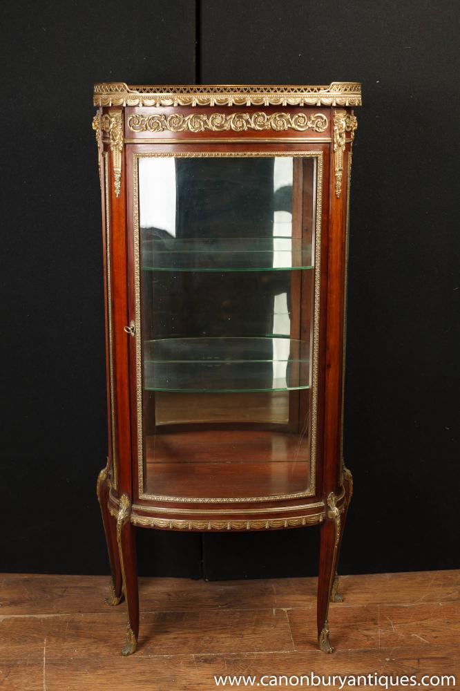 Antique Französisch Reich Vitrine Bijouterie Glasfront
