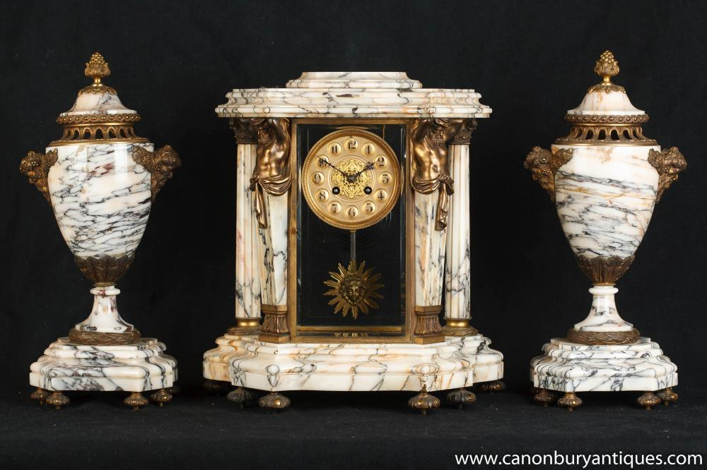 Antique Französisch Reich Marble Clock Set Garniture Urnen Atlas