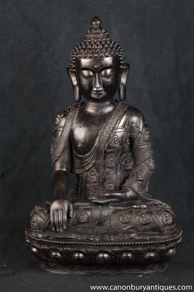 Bronze Tibetische Buddha-Statue Buddhistische Kunst Buddhismus Lotus