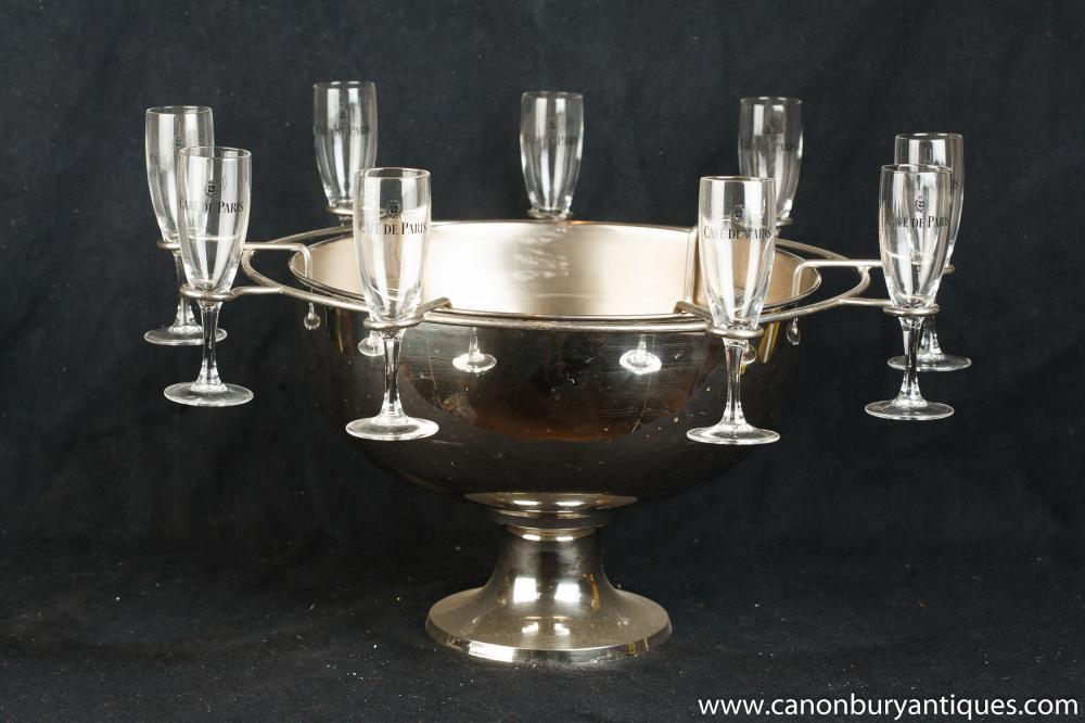 Französisch silberne Platten-Cafe De Paris Ice Champagne Bucket Glasses