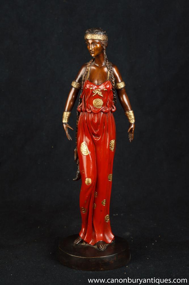 Jugendstil Bronze Female Statue Figurine