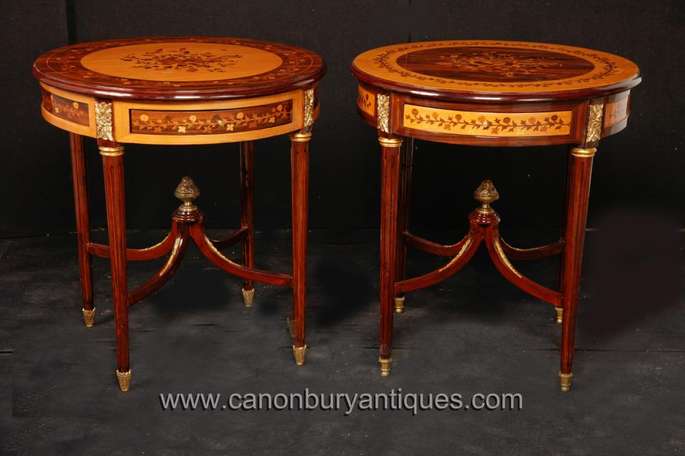 Paar Louis Philippe Side Cocktail Tables mit Inlay