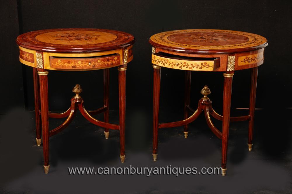 Paar Louis XVI Intarsien Cocktail Beistelltische Französisch Möbel