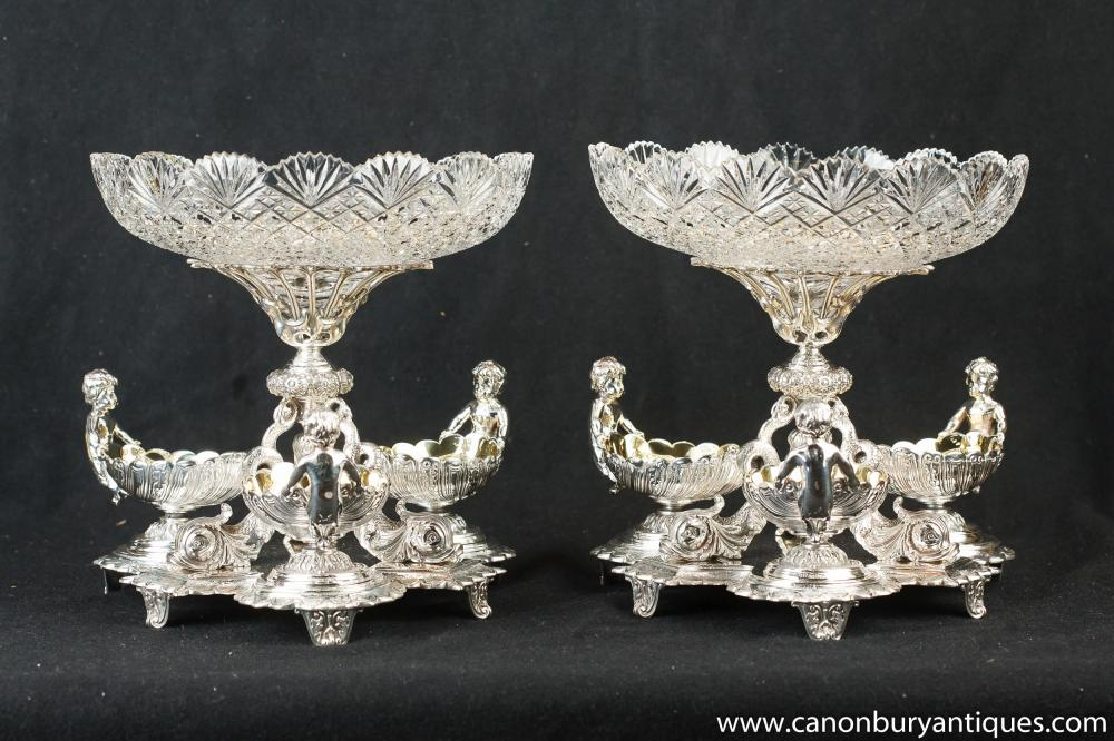 Pair Matthew Boulton silberne Platten Cherub Tafelaufsätze Glasteller Tafelaufsatz