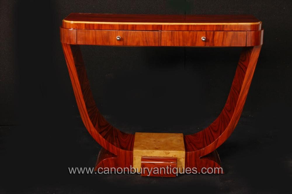 Rosewood Art Deco Console Table Oggee Vintage-Möbel 1920