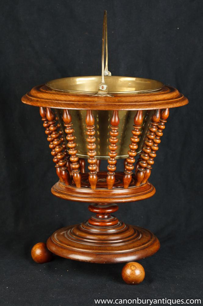Victorian Walnut Eiskübel Peat Coal Scuttle Planter