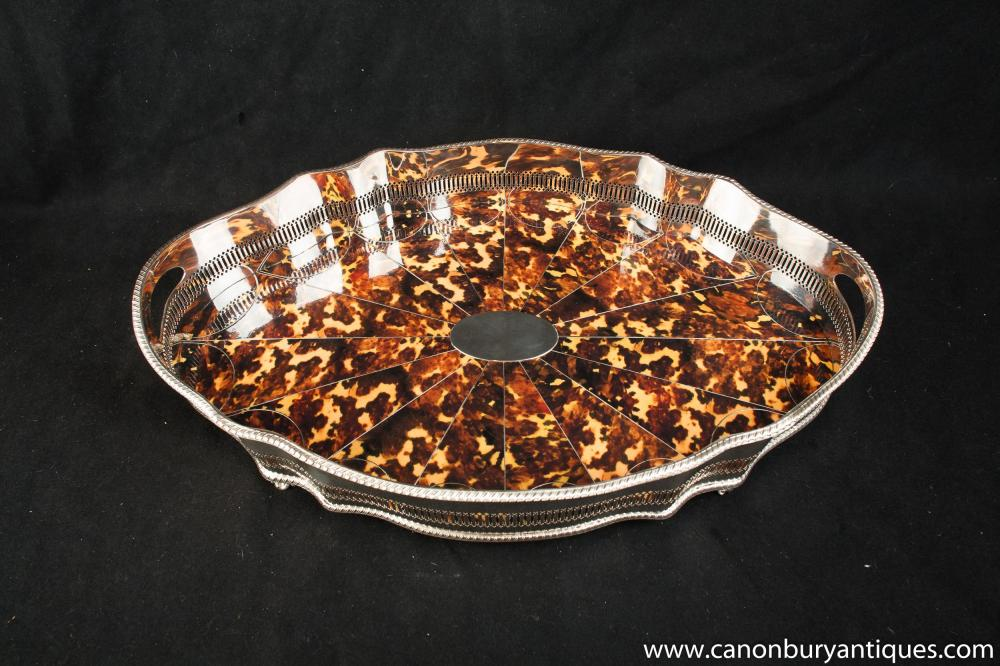 Victorian silberne Platten-Butlers Tray Faux-Schildpatt-Platter