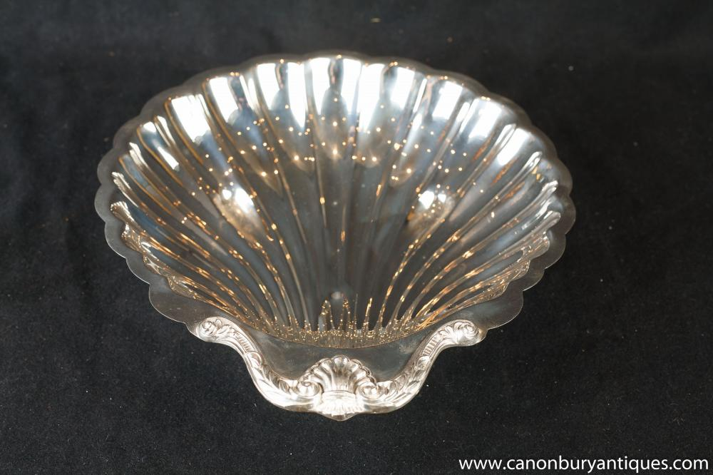 Antike silberne Platten-Art Nouveau Conch Shell Tray Dish 1920