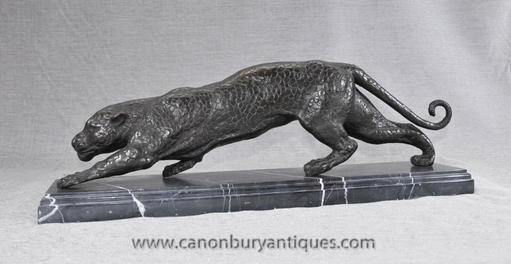 Französisch Bronze Art Deco Puma-Panther-Katzen-Statue Casting