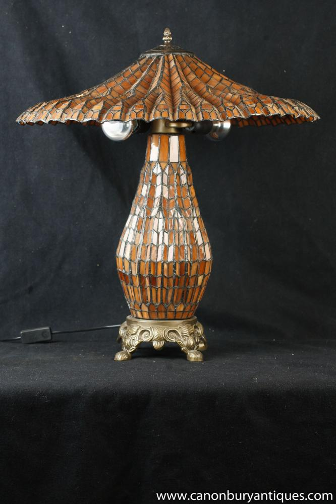 Französisch Jugendstil-Tischlampe Tiffany Glasschirm Licht