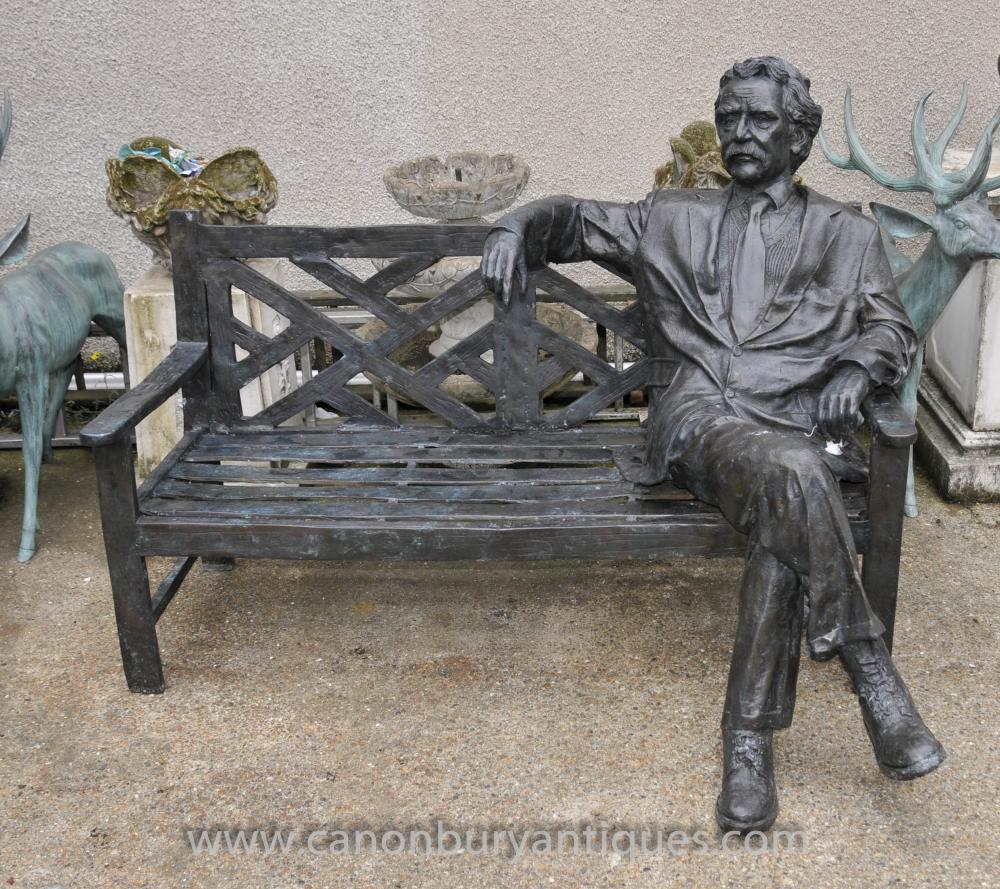 Große Bronze Garten-Bank mit Lifesize Albert Einstein Statue