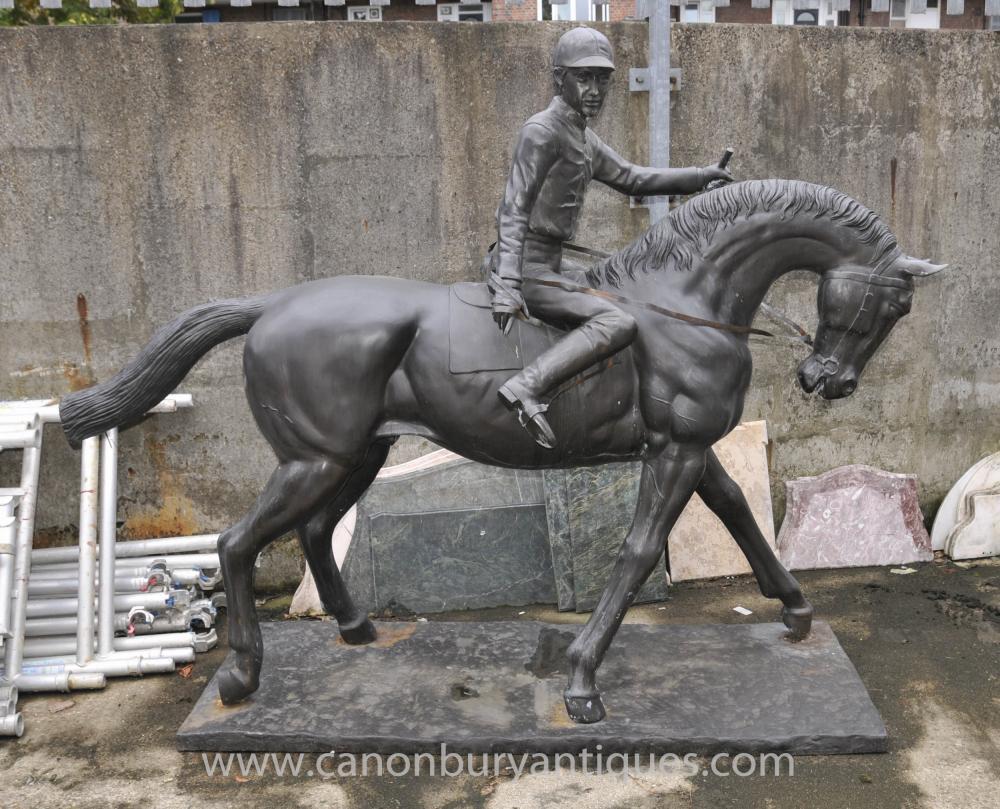 Lifesize Französisch Bronze Horse and Jockey Statue von Bonheur