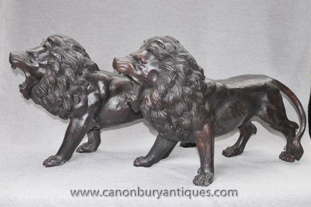 Paar Englisch Bronze Löwen-Statuen Gatekeepers Manner von Landseer