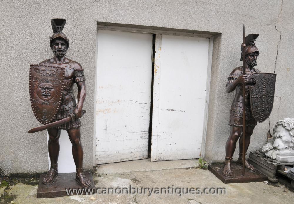 Pair XL Bronze Statuen römischer Gladiator Soldat Architectural Antiques