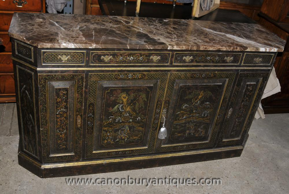 Antique Französisch Black Lacquer Kommode Sideboard Kommode mit Chinoiserie