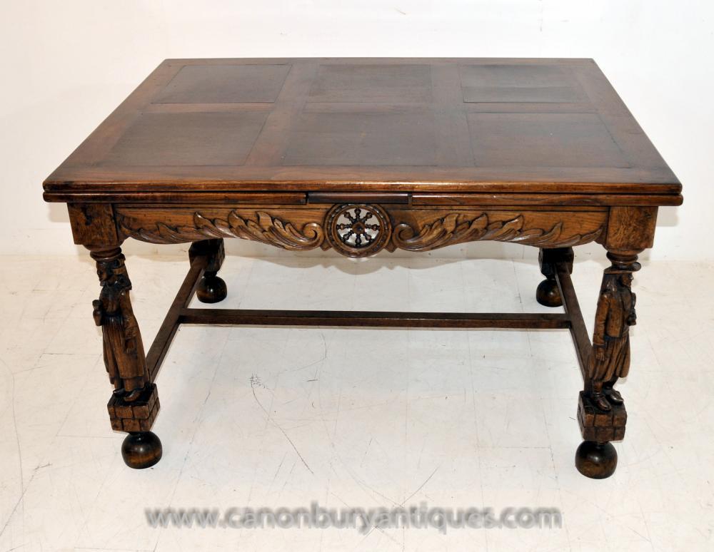 Antique Französisch Provincial Ausweitung Eiche Esstisch geschnitzten Beinen Refektorium Tabellen
