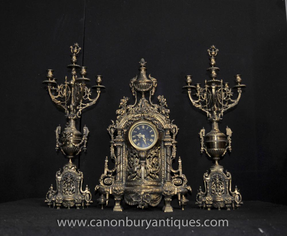 Antique Französisch Reich Clock Garniture Set Kerzenleuchter Ormolu