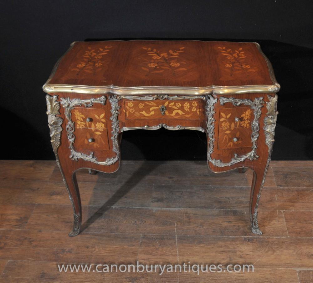 Antique Louis XV Knieloch Schreibtisch Schreibtisch Bureau 1920