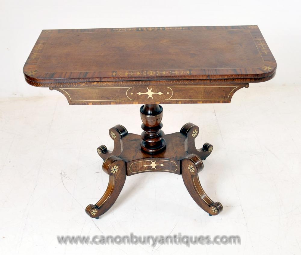 Antique Regency Spiele Tabelle Walnut Beistelltische Messingeinlege