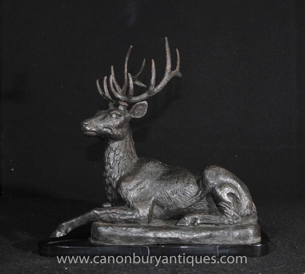 Bronze schottische Hirsch Statue Highlands Recumbant Stags
