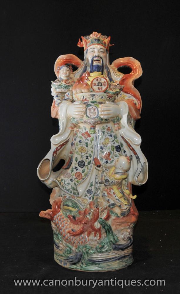 Chinesisches Porzellan-kluger Mann-Figurine Hand bemalt Keramik Statue