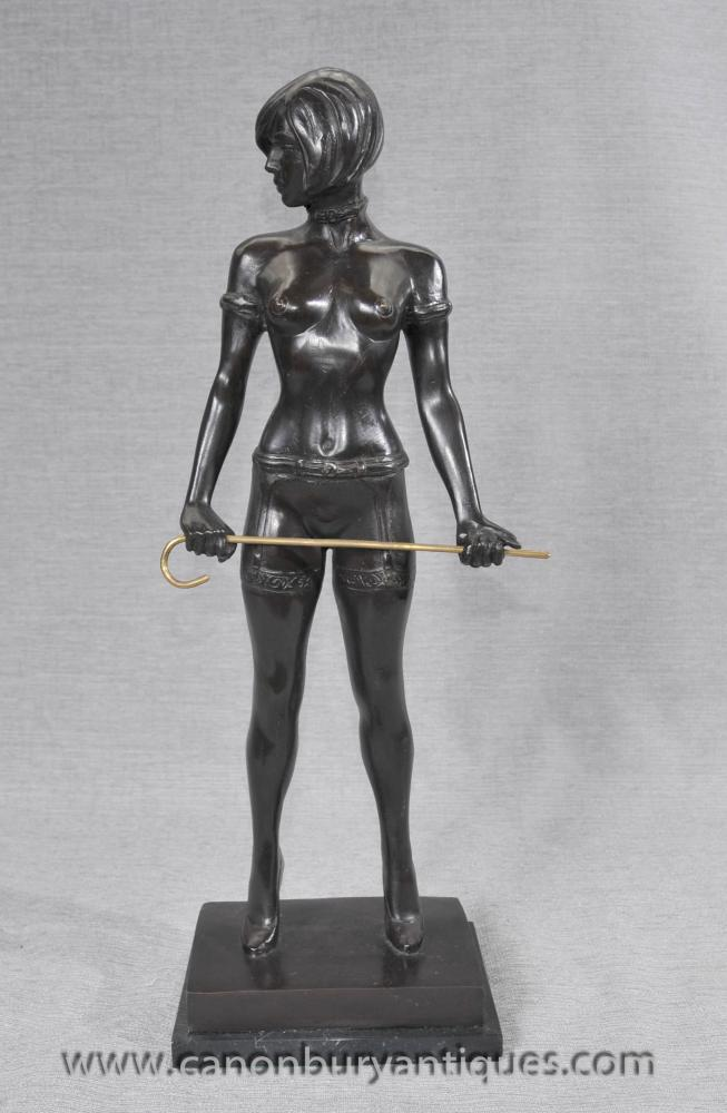Deutsch Bronze Erotic Dominatrix Statue Bruno Zach Nude