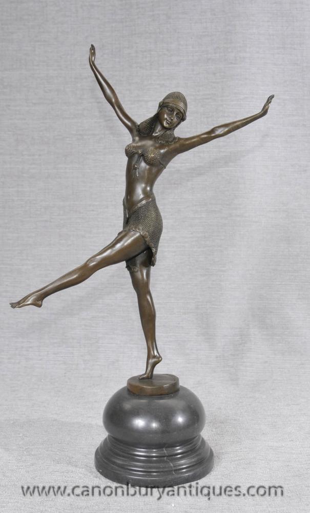 Französisch Art Deco Bronze Figurine von Chiparus Tänzer-Mädchen