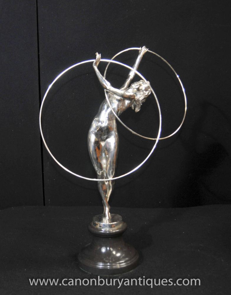 Französisch Art Deco Silber Bronze Band-Tänzer Statue Leverrier