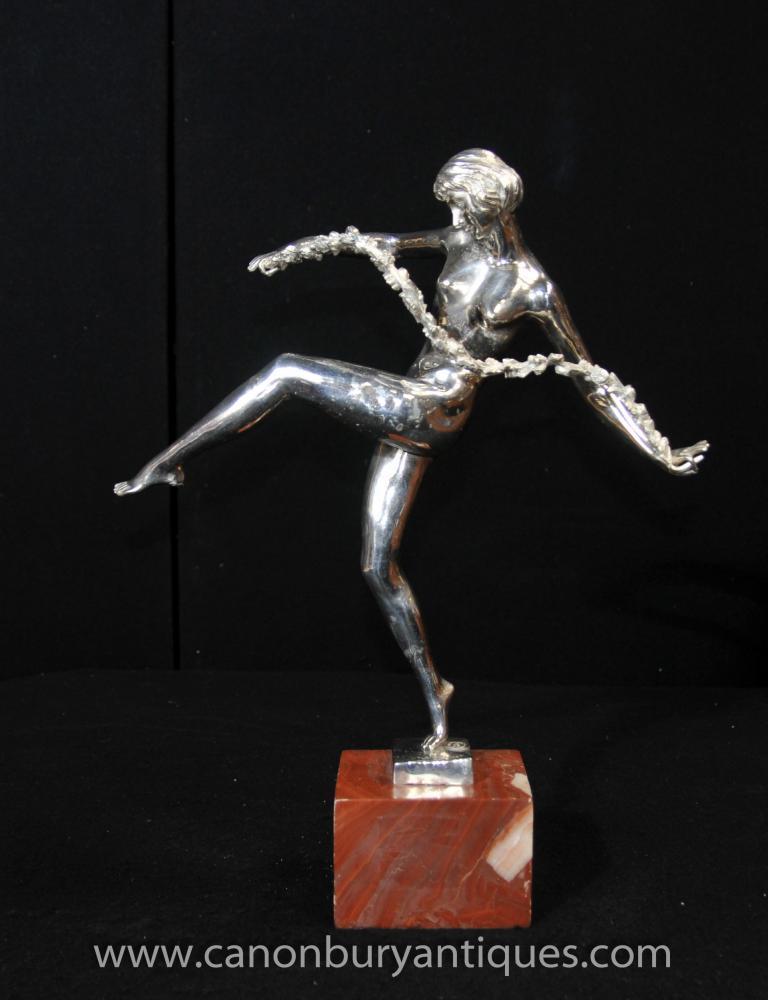 Französisch Art Deco Silber Bronze Sash Dancer-Statue-Figürchen