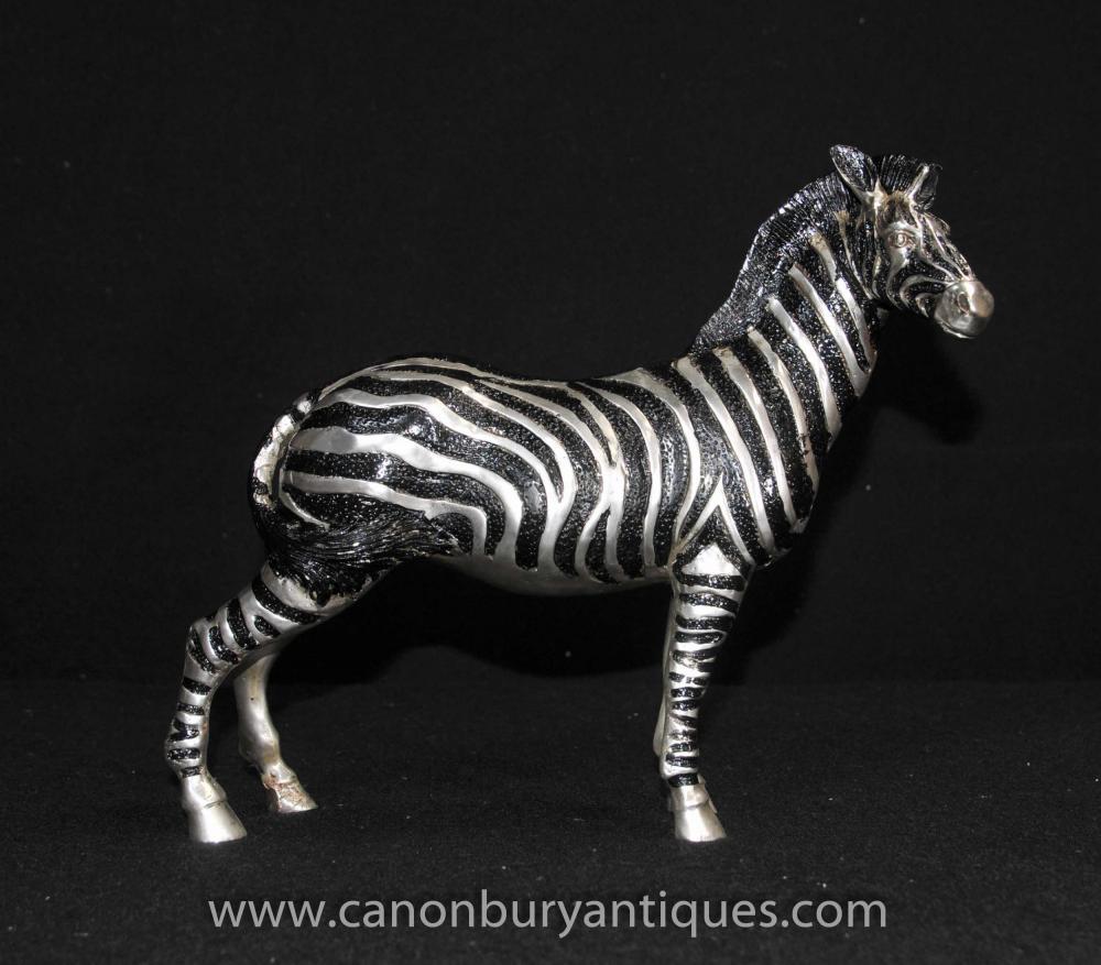 Französisch Art Deco Silber Bronze Zebra Statue