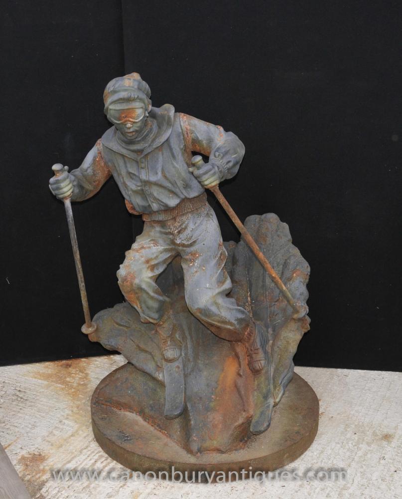 Französisch Gusseisen Lifesize Ski Statue Skulptur Skirennläuferin