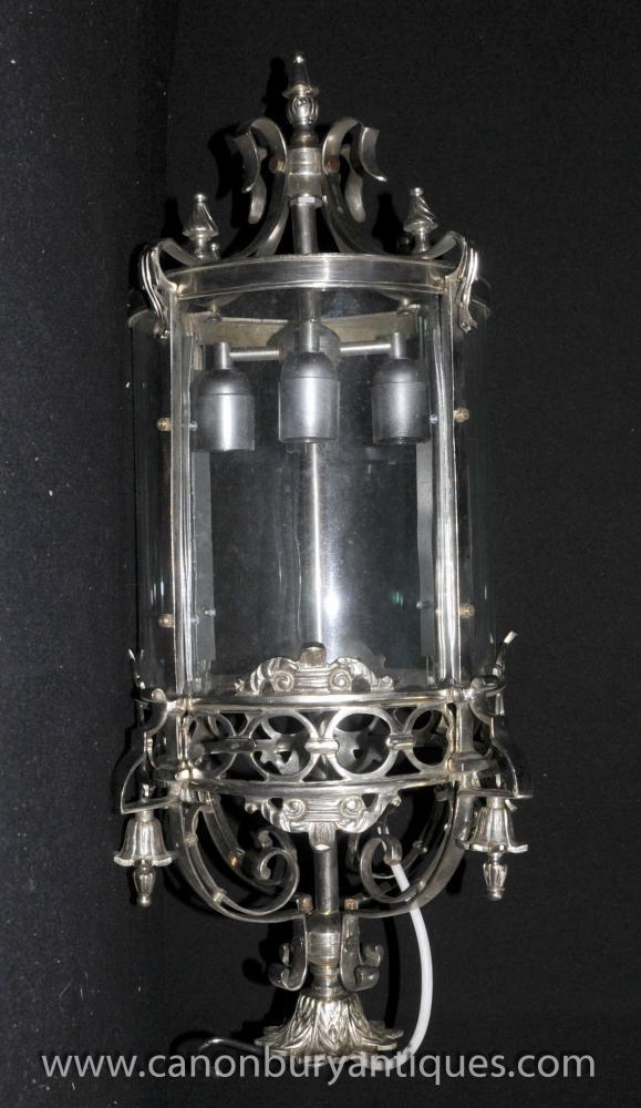 Französisch silberne Platten-Laterne-Licht-Leuchter-