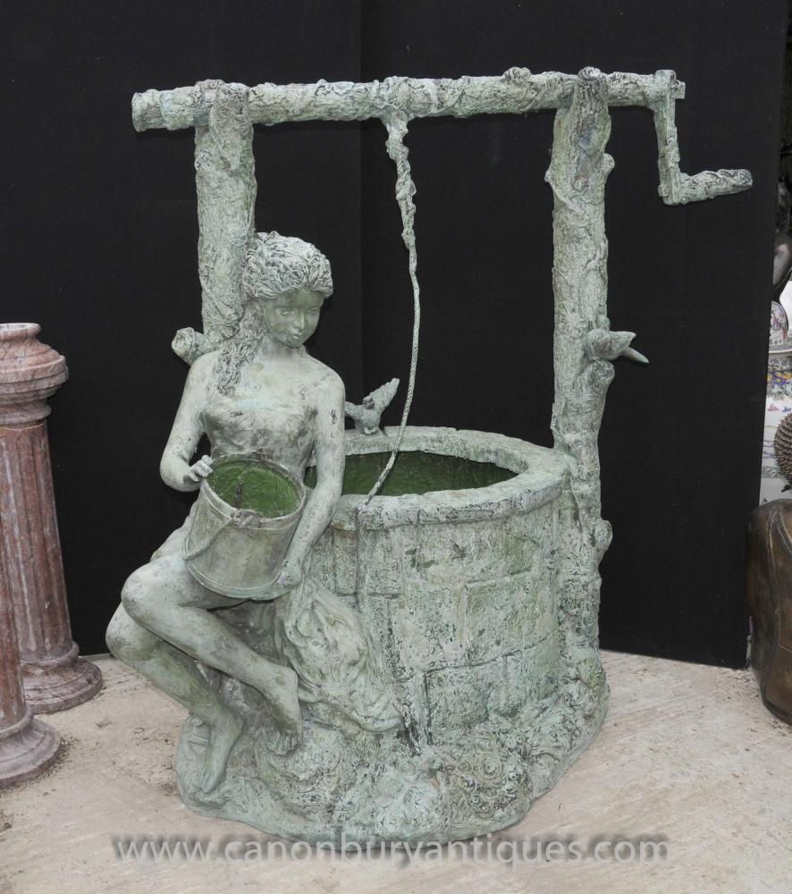 Große Bronze Nun Maiden Garten-Brunnen-Wasser-Merkmal Sculpture
