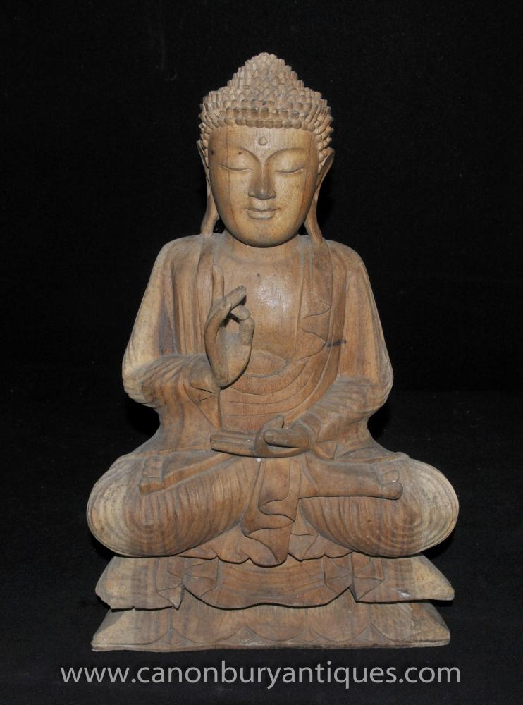 Hand geschnitzte Burmese Buddha-Statue buddhistische Kunst