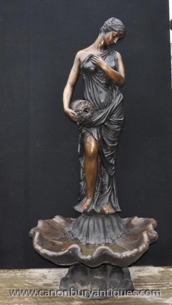 Italienisch Bronze XL Maiden Fountain Statue Amphora Water Feature Casting