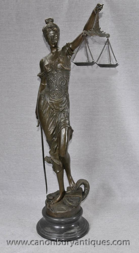 Lady Justice Blindenstaffel Justica Bronze Statue Figurine Old Bailey