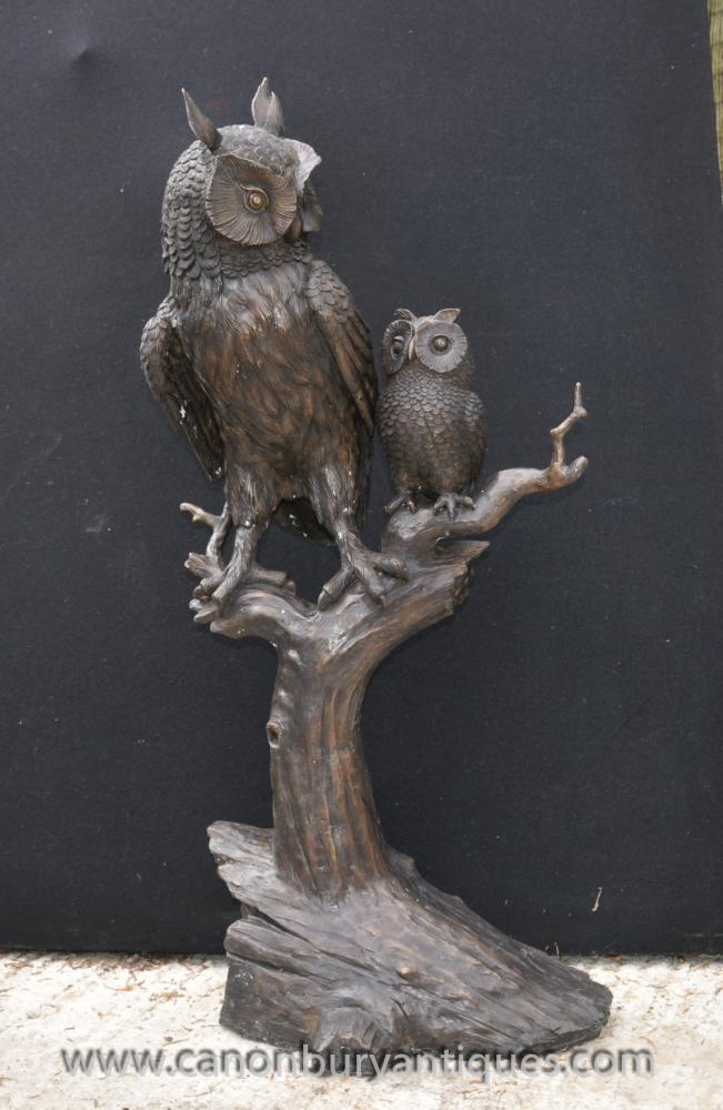KLICKEN SIE HIER UM kaufen Sie dieses LIFESIZE BRONZE TAWNY BARN OWL UND OWLET Statue Skulptur BIRDS Beute auf Canonbury Antiquitäten