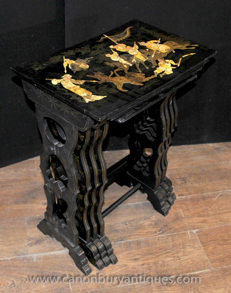 Legen Französisch Antique Black Lacquer Nest der Tabellen Chinoiserie Beistelltisch