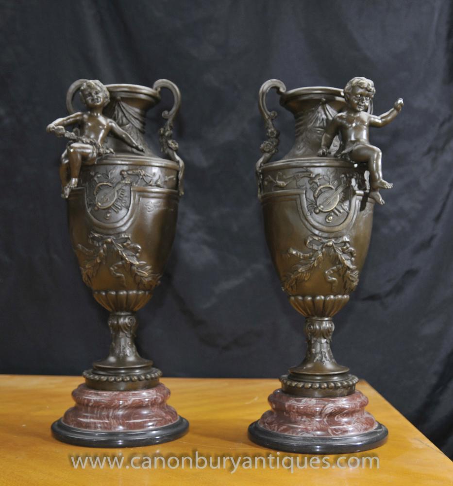 Paar Französisch Bronze Cherub Amphora Urnen signiert Signed S.Fondeurs