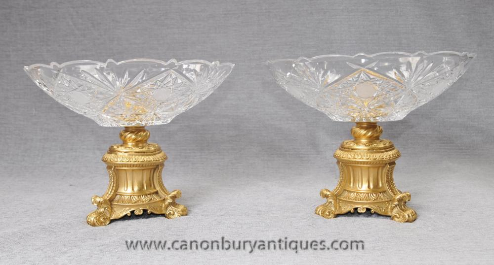 Paar Französisch Louis XVI Glasschliff Ormolu verhält Dish Glassuppenschüssel