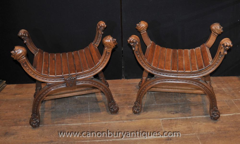 Pair Antique Englisch Oak X-Rahmen Hocker Sitze Bauernhof