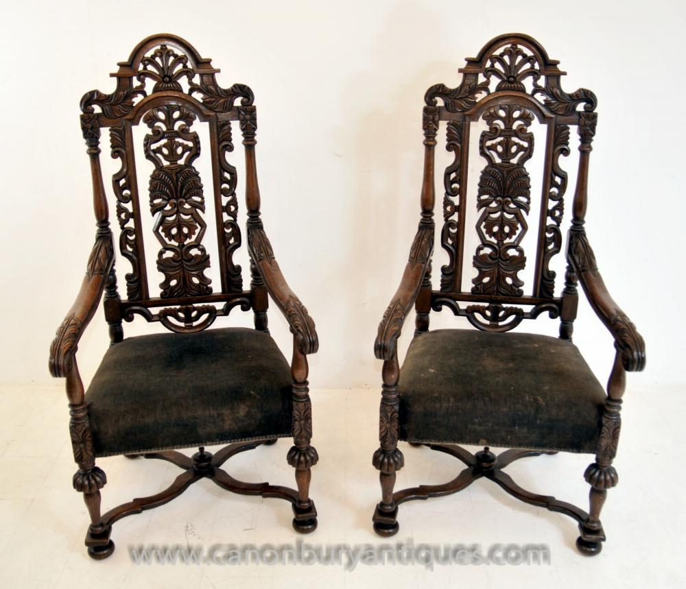 Pair Antique Oak Jacobean Hand geschnitzter Sessel