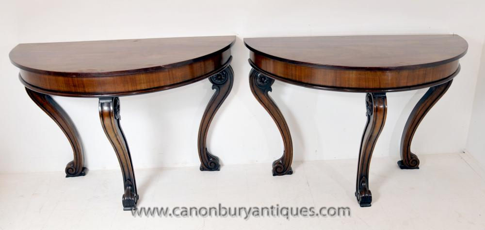 Pair Antique Regency Console Tables Demi Lune Tisch Mahagoni
