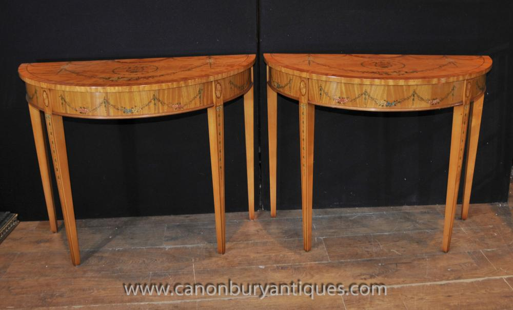 Pair Hepplewhite Demi Lune Console Tables Painted Satinwood