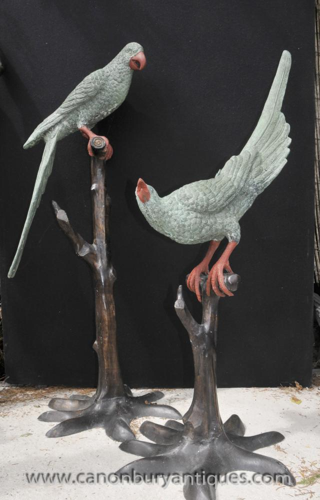 Pair Lifesize Bronze Tropical Parrot Statuen Vogel Zweig Casting